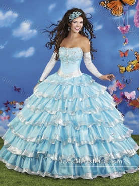 Discount Classical 2015 Multi Color Quinceanera Dresses with Beading and Ruffled Layers MRYS024