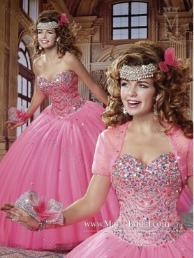 Discount Elegant 2015 Tulle Sweetheart Quinceanera Gown with Beading MRYS018