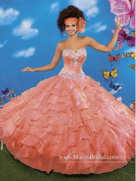 Discount Gorgeous Beading and Ruffled Layers Sweetheart Quinceanera Dresses for 2015 MRYS039