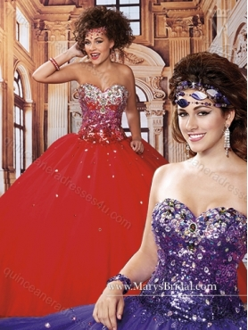 Discount Inexpensive Sweetheart Beading Red Quinceanera Dresses for 2015 MRYS014