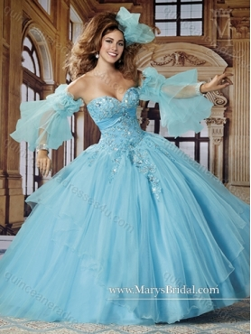 Discount Modest Sweetheart Aqua Blue 2015 Quinceanera Dresses with Appliques MRYS010