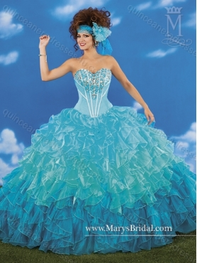 Discount Perfect Beading and Ruffles Sweetheart Teal Quinceanera Dresses for 2015 MRYS028