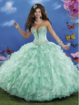 Discount Romantic 2015 Ball Gown Quinceanera Dresses with Beading and Ruffles MRYS029