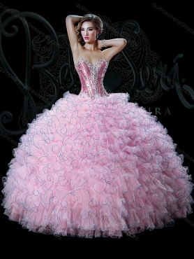 Discount Discount Sweetheart 2015 Bella Sera Quinceanera Dresses with Beading and Ruffles in Pink BASL005