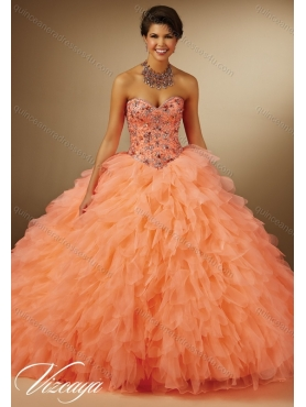 Discount 2015 Summer Pretty Beaded Ball Gown Quinceanera Dresses in Orange MERL017