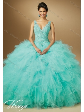 Discount 2015 Summer Pretty V Neck Beaded Quinceanera Dresses with Ruffles MERL002