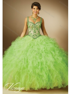Discount 2015 Summer Straps New Style Quinceanera Dresses in Spring Green MERL018