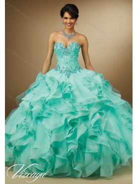 Discount Beautiful Aqua Blue Ball Gown Quinceanera Dresses with Appliques MERL016