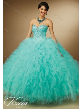 Discount Luxurious Aqua Blue Sweetheart Quinceanera Dresses with Beading for 2015 Summer MERL015