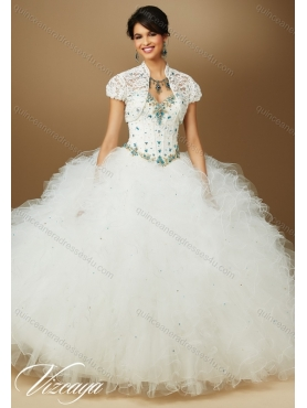 Discount Pretty Quinceanera Dresses with Beading and Ruffles in White for 2015 Summer MERL011