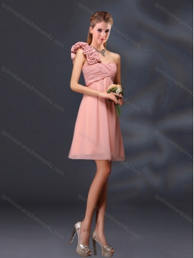 Discount 2015 Hand Made Flowers and Ruching A Line Dama  Dresses BMT028C