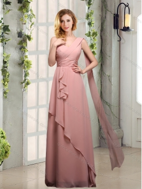 Discount 2015 One Shoulder Empire  Dama Dresses with Ruching BMT013D