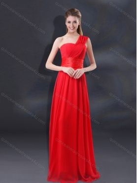 Discount 2015 One Shoulder Ruching Empire Dama Dresses BMT018C