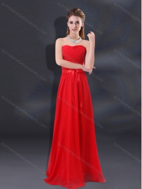 Discount 2015 Ruching Empire Dama Dresses with Belt BMT018E