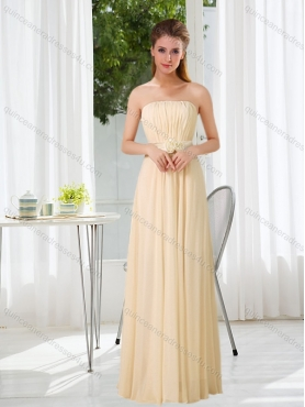 Discount Luxurious  Empire Strapless Ruching and Belt Dama Dress with Floor Length BMT016A