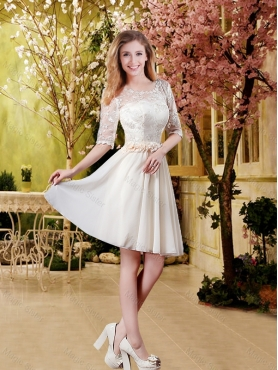 Discount Cheap Champagne 2016 Dama Dresses with Lace and Belt BMT031B