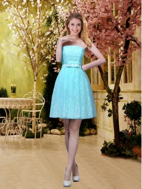 Discount Discount and Elegant A Line Laced Dama Dresses with Belt in Aqua Blue BMT032D