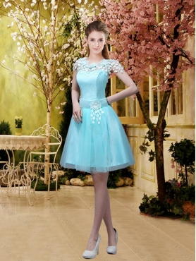 Discount Discount and Luxurious A Line Belt and Appliques Dama Dresses with Cap Sleeves BMT032F