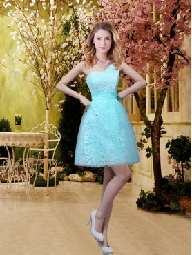 Discount New Style A Line Laced Dama Dresses with Appliques in Aqua Blue BMT032A