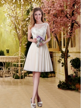 Discount Perfect A Line Champagne Dama Dresses with Lace for 2016 BMT031A