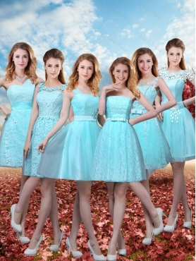 Discount Summer Beautiful A Line Dama Dresses with Belt in Aqua Blue BMT032