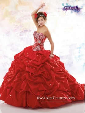 Discount 2016 Pretty Ball Gown Red Chapel Train Sweet 16 Dresses MRSY062
