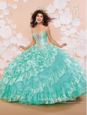 Discount Apple Green Strapless Beaded Elegant Quinceanera Dresses with Ruffled Layers MRSY013