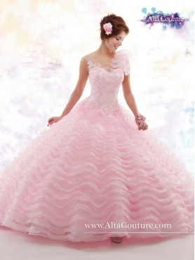 Discount Beautiful Appliques Baby Pink Sweet 16 Dresses with Ruffled Layers MRSY063