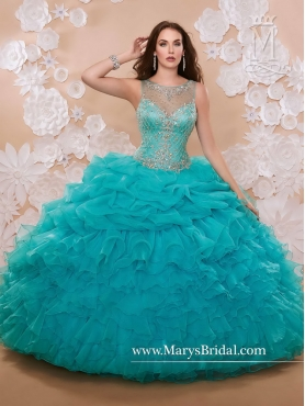 Discount Beautiful Bateau Ruffles 2016 Quinceanera Dresses with Beaded MRSY018