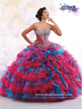 Discount Beautiful Brush Train Beaded Sweet 16 Dresses in Multi Color MRSY053