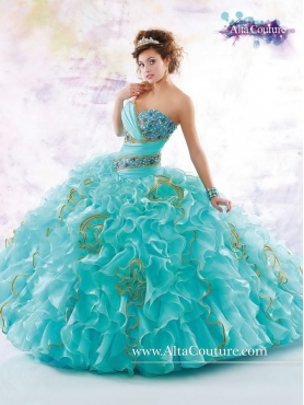 Discount Beautiful Brush Train Quinceanera Dresses with Ruffles and Beading MRSY055