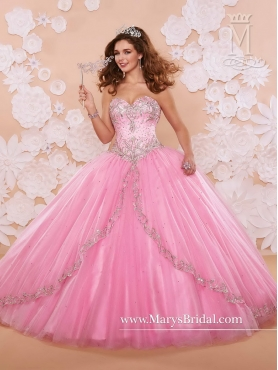 Discount Beautiful Sweetheart Beaded 2016 Quinceanera Dresses in Rose Pink MRSY016