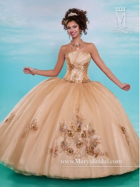 Discount Best Selling Appliques Champagne Quinceanera Gowns with Strapless MRSY028