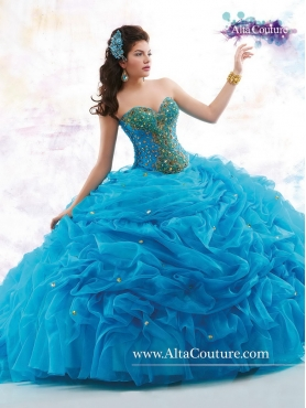 Discount Classical Sweetheart Beaded Quinceanera Gowns with Court Train MRSY056