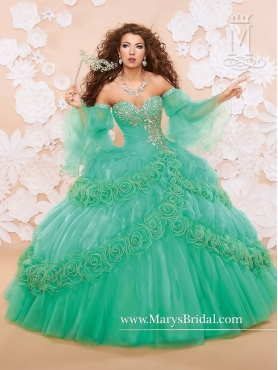Discount Gorgeous Beaded 2016 Quinceanera Dresses with Hand Made Flowers MRSY014