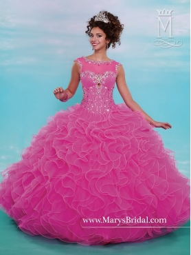 Discount Gorgeous Beaded and Ruffles Quinceanera Dresses with Bateau MRSY033