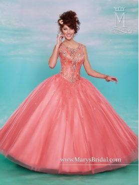 Discount Hot Sale Beaded Scoop Quinceanera Dresses in Watermelon MRSY022
