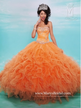 Discount Luxurious Orange Quinceanera Gowns with Beading and Ruffles MRSY026