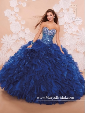 Discount Luxurious Royal Blue Sweetheart Quinceanera Gowns with Brush Train MRSY019