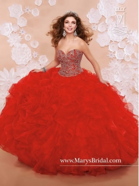 Discount New Style Red Sweetheart Quinceanera Gowns with Beading MRSY020