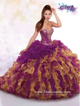 Discount New Style Sweetheart Ruffles and Beaded Sweet 16 Dresses in Multi Color MRSY064