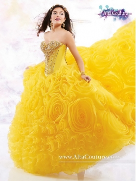 Discount New Style Yellow 2016 Sweet 16 Dresses with Rolling Flowers MRSY052