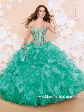 Discount Popular Beaded and Ruffles Quinceanera Dresses with Sweetheart MRSY017