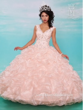 Discount Pretty 2015 Ball Gown Beaded V Neck Quinceanera Gowns MRSY024