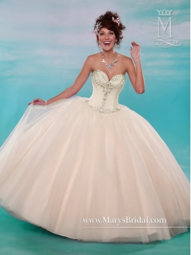 Discount Pretty Ball Gown Sweetheart Tulle Champagne Quinceanera Gowns with Beading MRSY031