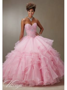 Discount 2015 New Arrival Beaded and Ruffled Baby Pink Quinceanera Dress