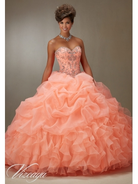 Discount 2016 Customized Sweep Train Orange Red Sweet Sixteen Dress with Beading and Pick Ups