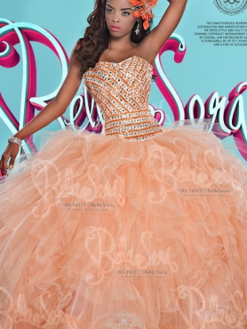 Discount 2016 Latest Beaded Bodice and Ruffled Orange Quinceanera Dress in Orange