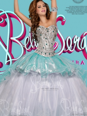 Discount 2016 New Style Beaded and Ruffled White Quinceanera Dress with Detachable Skirt