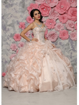 Discount Affordable Organza Champagne Quinceanera Gown with Beaded Bodice and Bubbles
